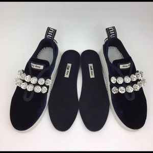 MIU MIU Jewel Strap Slip-On Sneaker sz 5.5